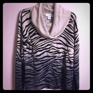 Tan, Blue & Black Zebra Print Sweater